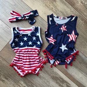 American Flag Baby Romper Jumpsuits with Bow